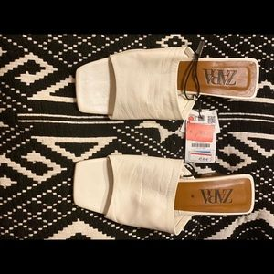 Zara square toe block mule